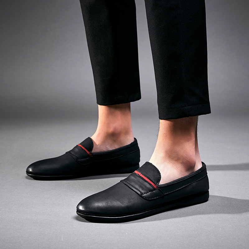 Genuine Leather Men Loafers Large Slip On Black Mens Driving Shoes Moccasins Casual Male Shoes 5 black real leather 2017 mules summer brown european loafers men genuine shoes moccasins half male casual slip ons hot sale