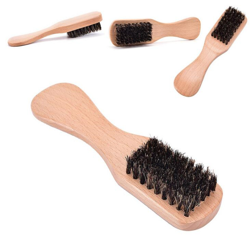 1 Pc Beard Brush Beech Handle Boar Bristle Hairbrush Anti-static Hairdressing Scalp Massage Comb 1
