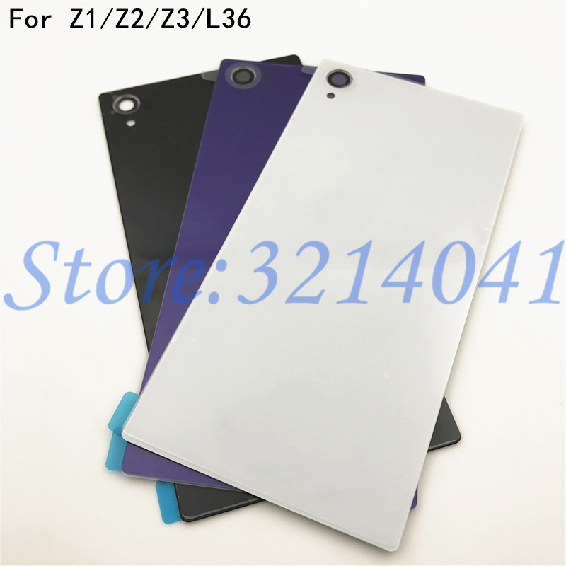 Original New Rear Door <font><b>Battery</b></font> Back Housing Glass Replacement <font><b>Cover</b></font> Case For <font><b>Sony</b></font> Xperia Z L36H Z1 <font><b>Z2</b></font> Z3 <font><b>Battery</b></font> <font><b>Cover</b></font> +Logo image