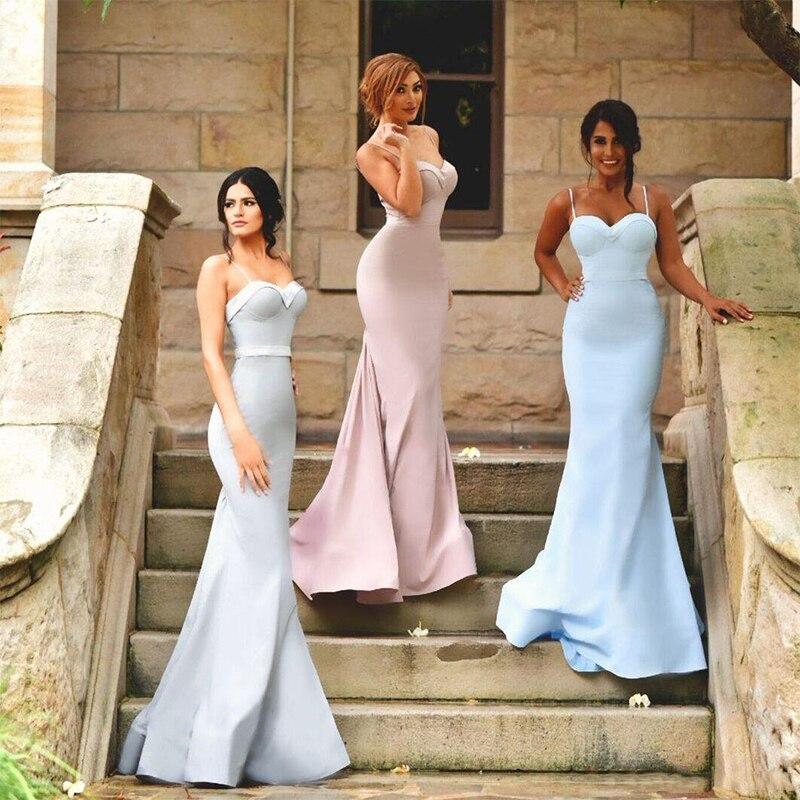 Vestido de Festa Longo Cheap Mermaid   Bridesmaid     Dresses   2019 Spaghetti Straps Backless Pink Blue Maid of the Honor   Dresses