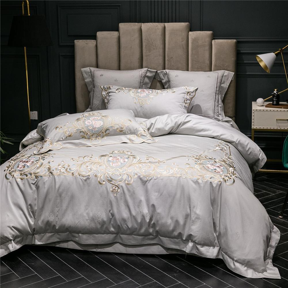 Reina y Rey 4 piezas Juego de ropa de cama marca de lujo italiano de alta precisión hilo bordado edredón juego de sábanas planas fundas de almohada gris claro - 2