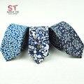 Lazos de algodón Para Hombres de Moda Flor Flaco Corbata 6 cm Ancho Tie Nuevo Diseño Paisley Lazo Para Hombre Pequeño Cravat Casual