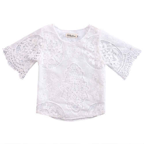 2018 Summer Baby Girls Shirt Short Sleeve Lace White Toddler Kids Girl Children New Shirts Bloules 3M-3Y