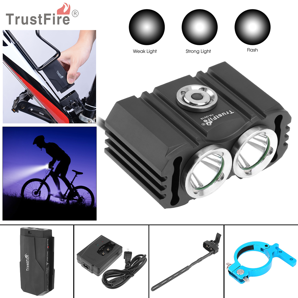 TrustFire 3 Switch Mode D016 2x XM-L2 LED 4.2V Waterproof Bicycle Head Light  + 6200mAh Battery Pack Kits for Bicycle Light trustfire 3 led 3 mode 1100lm cool white light bike light grey purple 2 8 4 2v