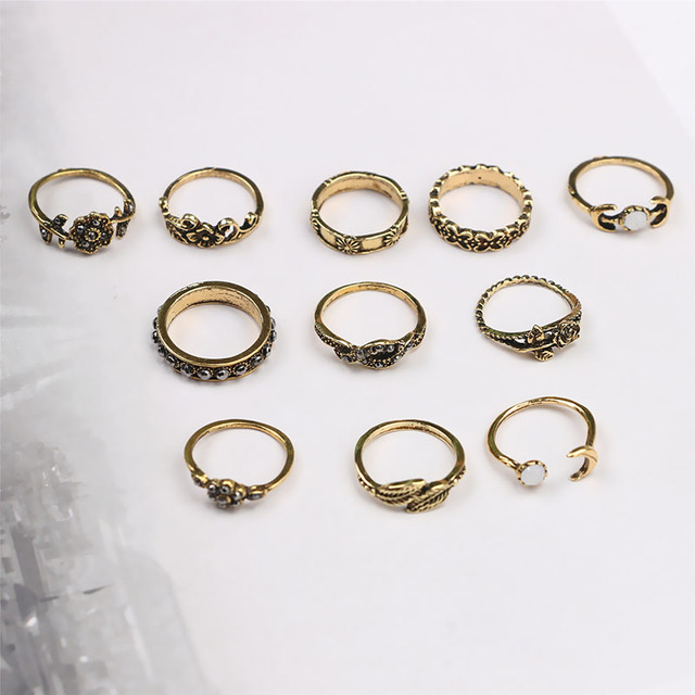 Gold/Silver Color Floral Midi Ring Set