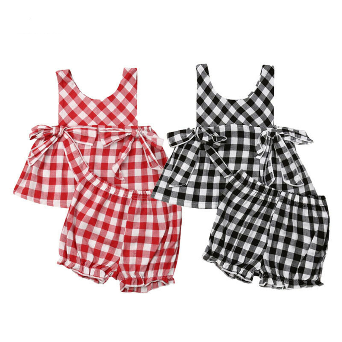 Canis Toddler Baby Girls Plaid Bowknot Romper Bodysuit Headband Outfits Clothes