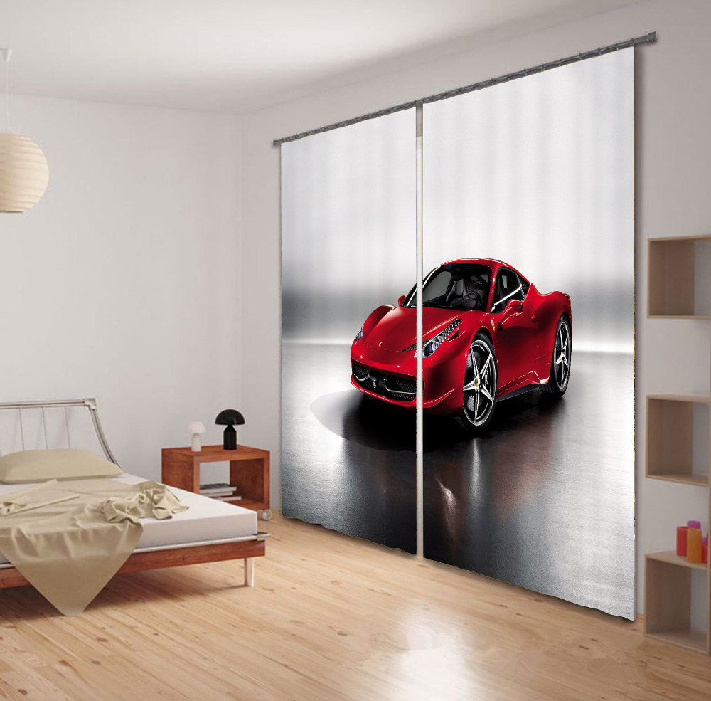 Kid car curtains - 3d Little Red Sports Car Europe Art Printing Thicken Blackout Curtain Custom Children S Curtain For Living Room Kids For Child