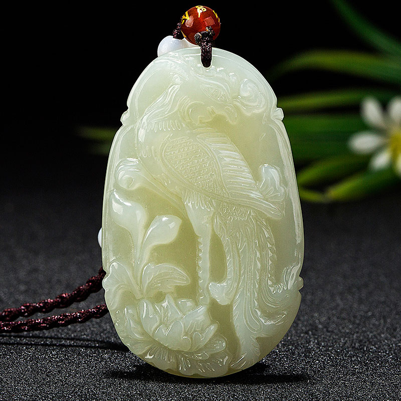 Natural HeTian Yu white jade Dan Feng Chao Yang rosefinch White Bird Chao feng Necklace + Certificate Fashion Jewelry stels камера chao yang 20