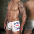 Boxer 100% Algodão dos homens Novos da marca Sexy Mens Underwear Boxers Shorts Homens Cuecas Impressão Tronco Branco M/L/XL/XXL Frete grátis