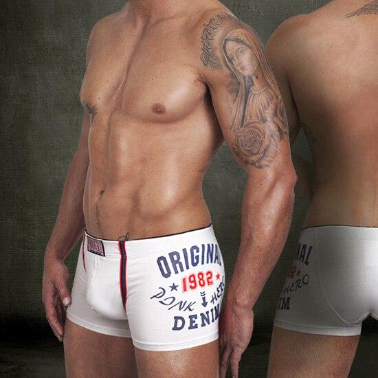 Brand New Men's Boxer 100% Cotton Sexy Mens Underwear Boxers Shorts Men Print Underpants White Trunk M/L/XL/XXL Free shipping