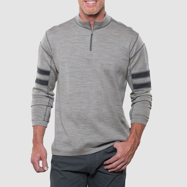 Man 100%  Washable Merino Wool Men 1/4 Zip Out door Odor Fighting Sweater Warm Thermal Warmth Long Sleeve thumb loops Shirt Tops