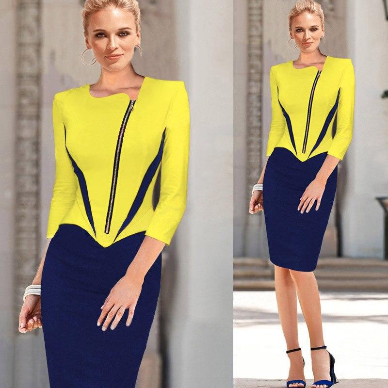 Womenss Elegant 3/4 Sleeve Colorblock Summer Front Zipper Wear To OL Business Office Knee Length Formal Dress for Work 2018