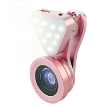 3 in 1 Lens, Fill Light, 140 Degree Wide Angle, 15X Macro Lens Clip-on Cell Phone Camera Lenses Kit for iPhone Samsung, Android