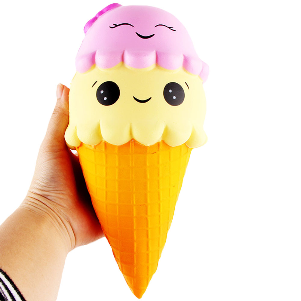 Hot Sale Jumbo 22CM Cartoon Smiley Face Ice Cream Super Slow rising sweet Soft scented Charms Food rebound Bread Kid Toys