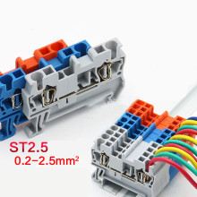 10 шт. ST 2,5 Феникс Тип din-рейку 4 контакта пружинная клетка Быстрый Разъем модульный клеммный блок ST-2.5