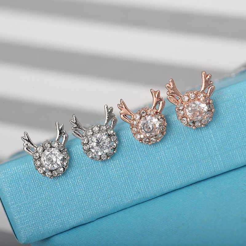Accesorios pendientes de cristal de lujo tridimensional Navidad Reno antler regalo Reno perno oreja anillos joyería