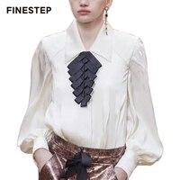 100% шелковая блузка Для женщин белая шелковая блузка одежда с длинным рукавом высокое качество роскошные Для женщин блузка 2018