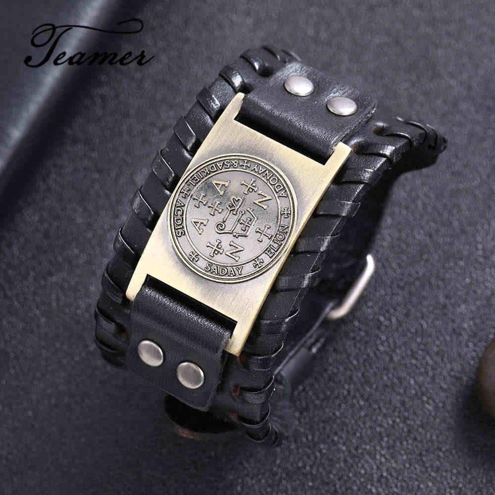 Teamer noir large bracelet en cuir slave Antique argent/bronze étoile anis fermé rond breloque amulette bijoux cadeaux