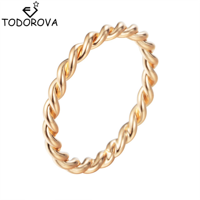 Todorova Punk Thin Twist Rope Minimalist Rings for Women Simple Rustic Knuckle S
