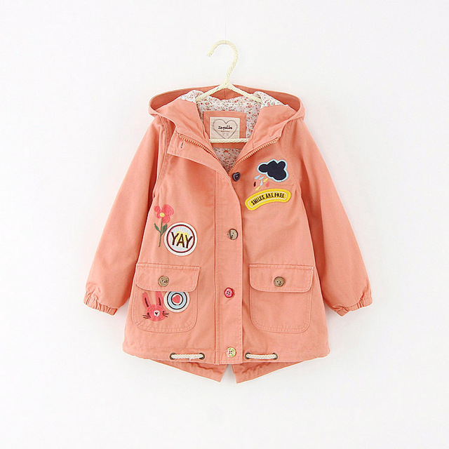 Trench Coat Boys Girls Spring Autumn Winter Kids Windbreaker Children Outwear Jacket Roupas Infantis Menina pink green Color