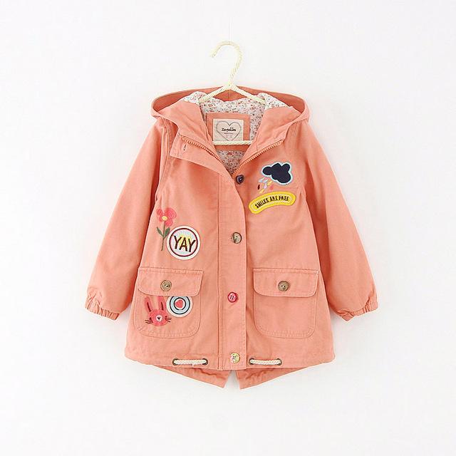Trench Coat Primavera Meninos Meninas Outono Inverno Crianças Crianças Blusão Jaqueta Outwear Roupas Infantis De Menina rosa Cor verde