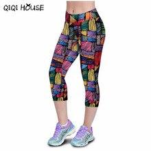 Леггинсы женщины фитнес summer повседневные брюки марка fille фитнес отпечатано стретч топ гетры femmes pantalons #3546