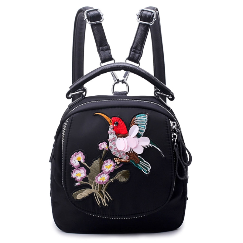 Women Mini Backpack Flowers Bird Dragonfly Embroidery Nylon Backpack High Quality Embroidery Backpack
