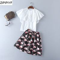 2018 Spring Summer Runway Women Skirt Set Short Sleeve white Chiffon Shirts+animal printing Mini Skirts Two Pieces Sets XF74