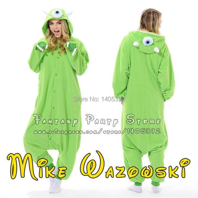 a9185ed290bf Adult MIke Wazowski Onesie Green Eyed Monster Cosplay Costume Cartoon  Pajamas Halloween Costumes