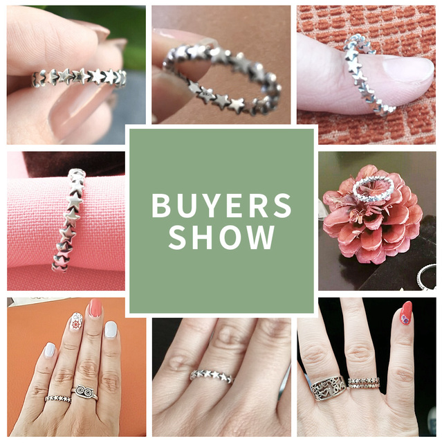 BAMOER 2020 HOT SALE Silver 925 Star Ring For Women Wedding 100% 925 Sterling Silver Stackable Finger Ring Jewelry PA7151
