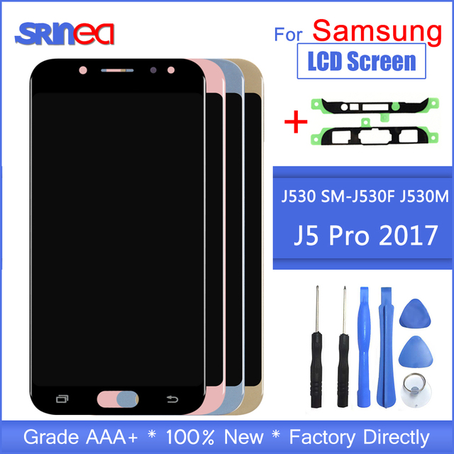 삼성 j5 2017 디스플레이 터치 스크린 디지타이저 j5 프로 j530 j530f lcd 접착 테이프 + 도구에 대 한 갤럭시 j530 2017 에 대 한 가변 lcd