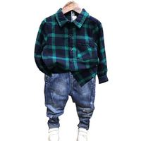 2PCS WLG boys clothes kids plaid green shirt and denim blue jean clothing set baby casual clothes children