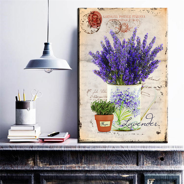 Vintage Purple Lavender Canvas Painting Provence Scenery Wall Art Poster Oil Picture Home Living Room