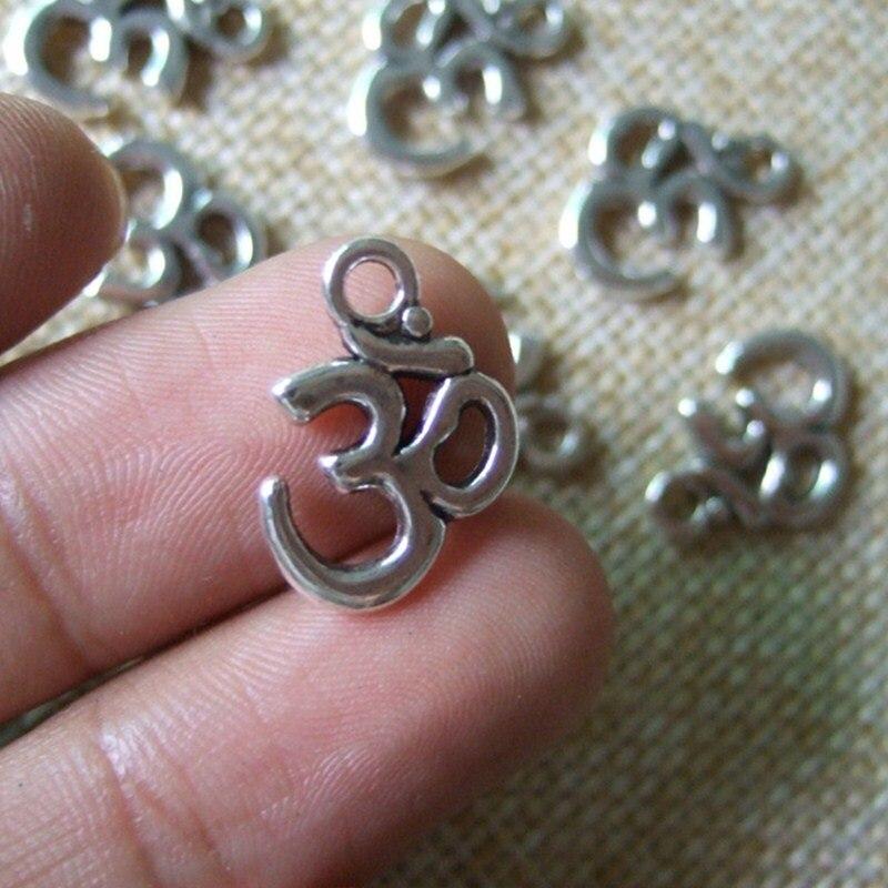 30PCS Antique Silver OM OHM AUM Symbol Yoga Charms Pendants Beads