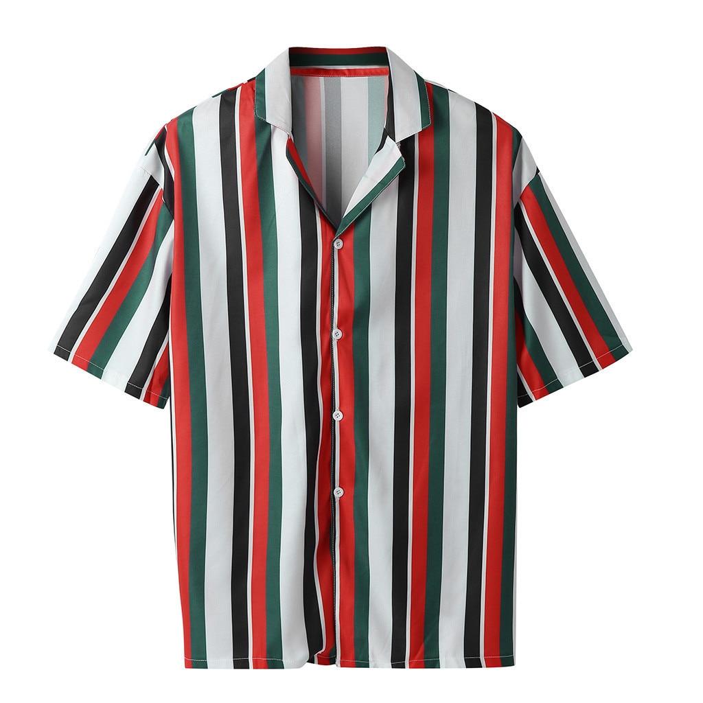 Womail hommes mode chemises décontracté multicolore rayé revers chemises à manches courtes haut chemisier hommes chemise été 2019 nouveautés