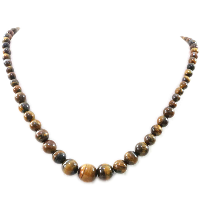 New Fashion Natural Stone Yellow Tiger Eyes Beads Necklace For Women 6-14mm Round Beaded Tower Necklaces Jewelry 18inch B1019