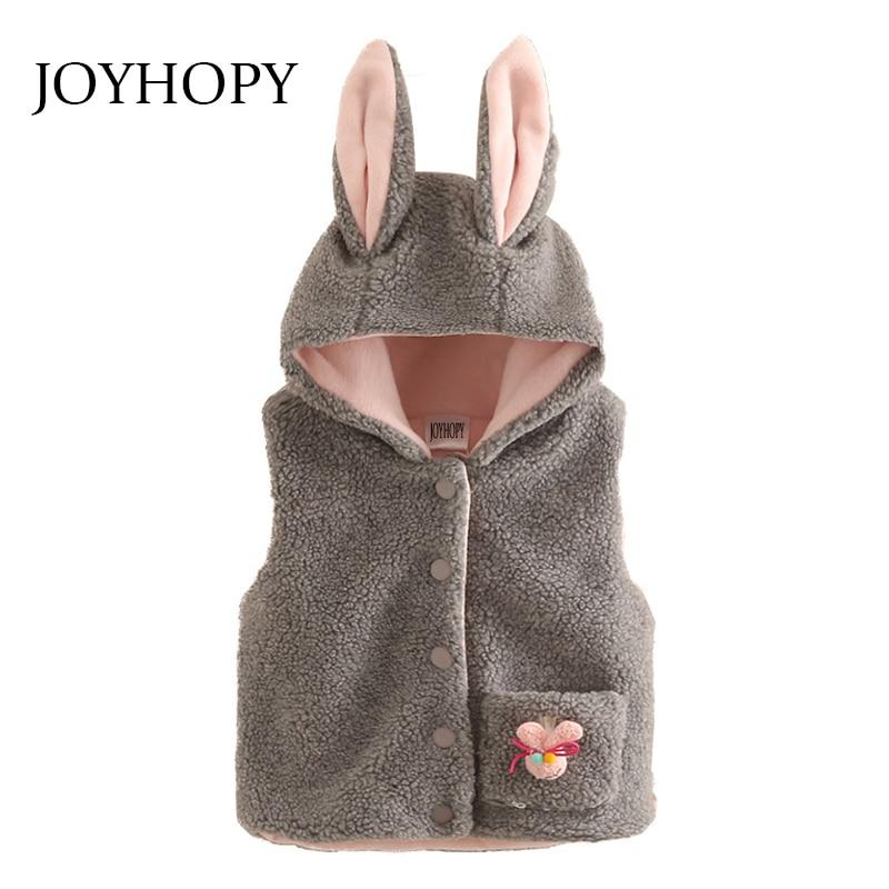 Baby Mädchen Kleidung Kinder Oberbekleidung Herbst Winter Niedlichen Kaninchen Ohr Mädchen Weste Mode Tasche Mit Kapuze Weste Kinder Kleidung