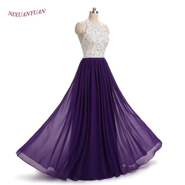 NIXUANYUAN 2017 Nuevo diseño Real foto Borgoña vestido de graduación 2017 A línea de gasa vestidos de fiesta largos con cuentas vestidos de baile 2017