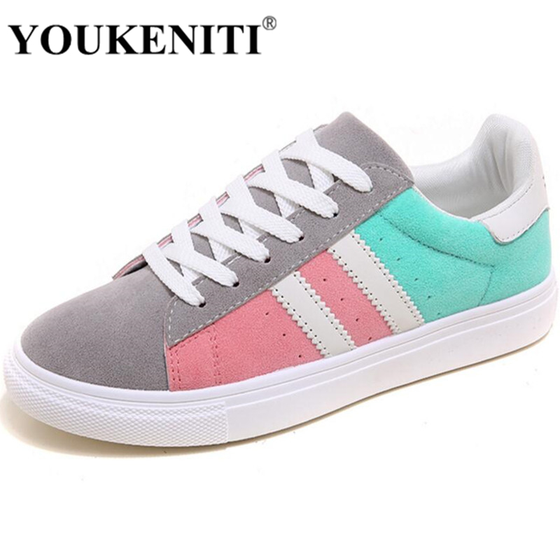 2017 Patchwork Lace Up Rubber Sole Canvas Shoes Breathable Super Leisure Women Casual Shoes With Flats Student Shoes RM-05 women breathable leisure cloth shoes durable lightweight comfortable soft walking mixed color flat heel shoe rubber sole canvas