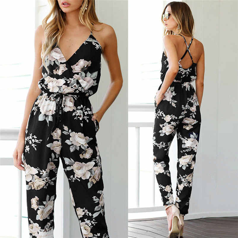 2df9a7b13af4 2019 Hot Sale New Women s Fashion Jumpsuit Women Sleeveless V-Neck Floral  Printed Playsuit Party