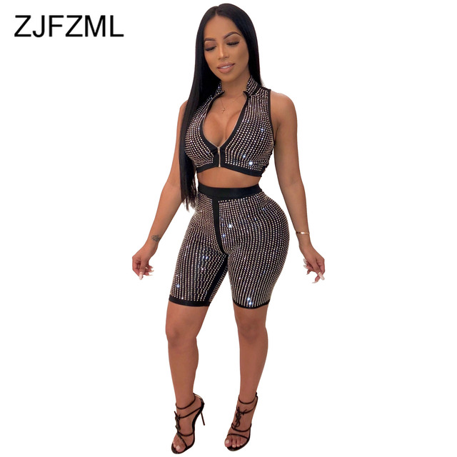 463cc19aab58 Women 2 Two Pieces Sets 2019 Glitter Rhinestones Club Outfits Zipper Up  Sleeveless Crop Top And
