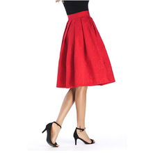 Autumn Vintage Charm Pleated Skirt With Pocket Jacquard Midi Office Skirt Tutu Elegant Womens Skater Skirts black skater skirt with zipper and button design