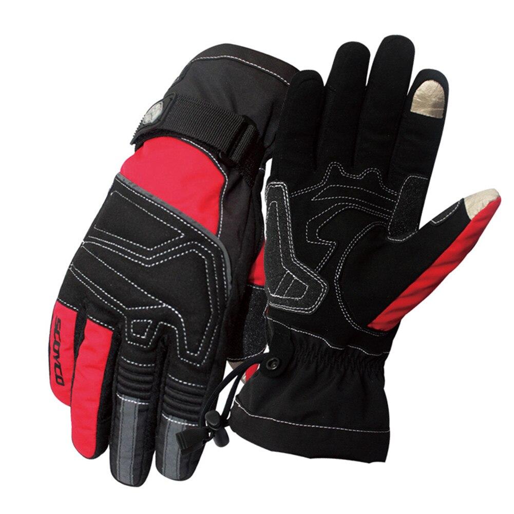 Winter Motorcycle Gloves Scoyco Guantes Moto Waterproof Motocross Luvas Sports Warm Screen Touch Outdoor Skiing Men Women Red