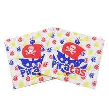 [Rainloong] recurso impresso piratas guardanapo de papel evento & festa suprimentos tecido decoração servilleta 33cm * 33cm 1 pacote