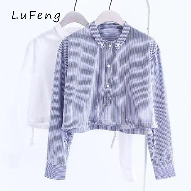 Blue striped white shirt women long sleeve fashion crop for Best dress shirts 2017