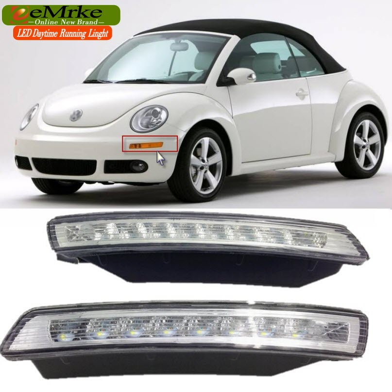 eeMrke LED Daytime Running Lights For VW Volkswagen Beetle 2007 2008 2009 2010 White DRL Light Fog Lamp Cover Kits daytime running light for vw volkswagen passat b6 2007 2008 2009 2010 2011 led drl fog lamp cover driving light