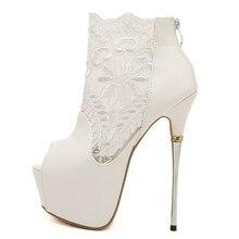 Neuheiten 2016 Damen Pumpt Grund Offene spitze Dünne Fersen Schwarz und Weiß Spitze Schuhe Partei Sexy Chaussure Femme