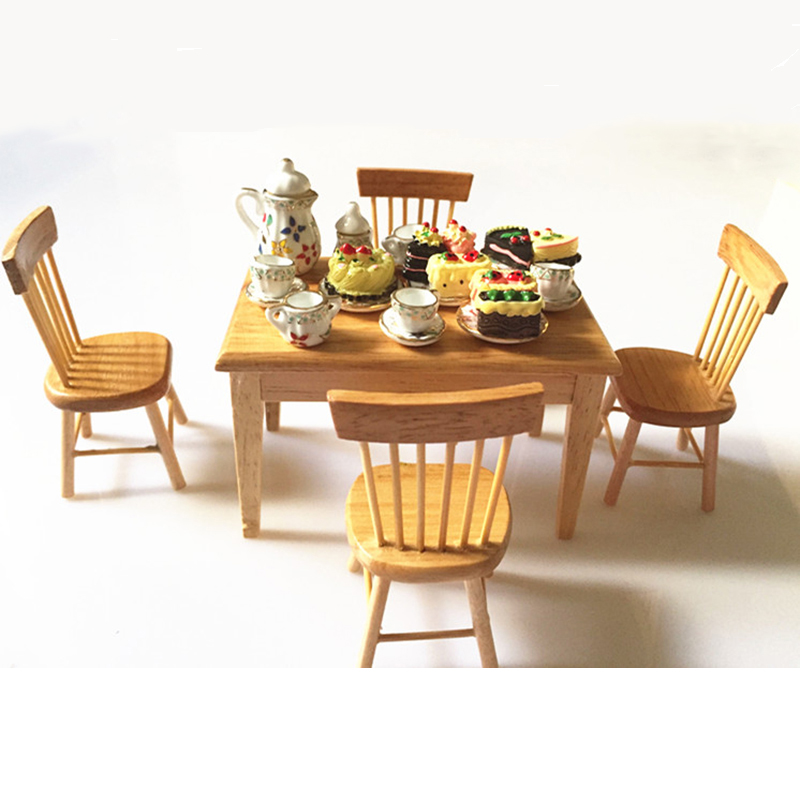 Doub K 1:12 Furniture toy for dolls dollhouse mini food Tableware Set Wooden brown table chair pretend play toys for girls kids