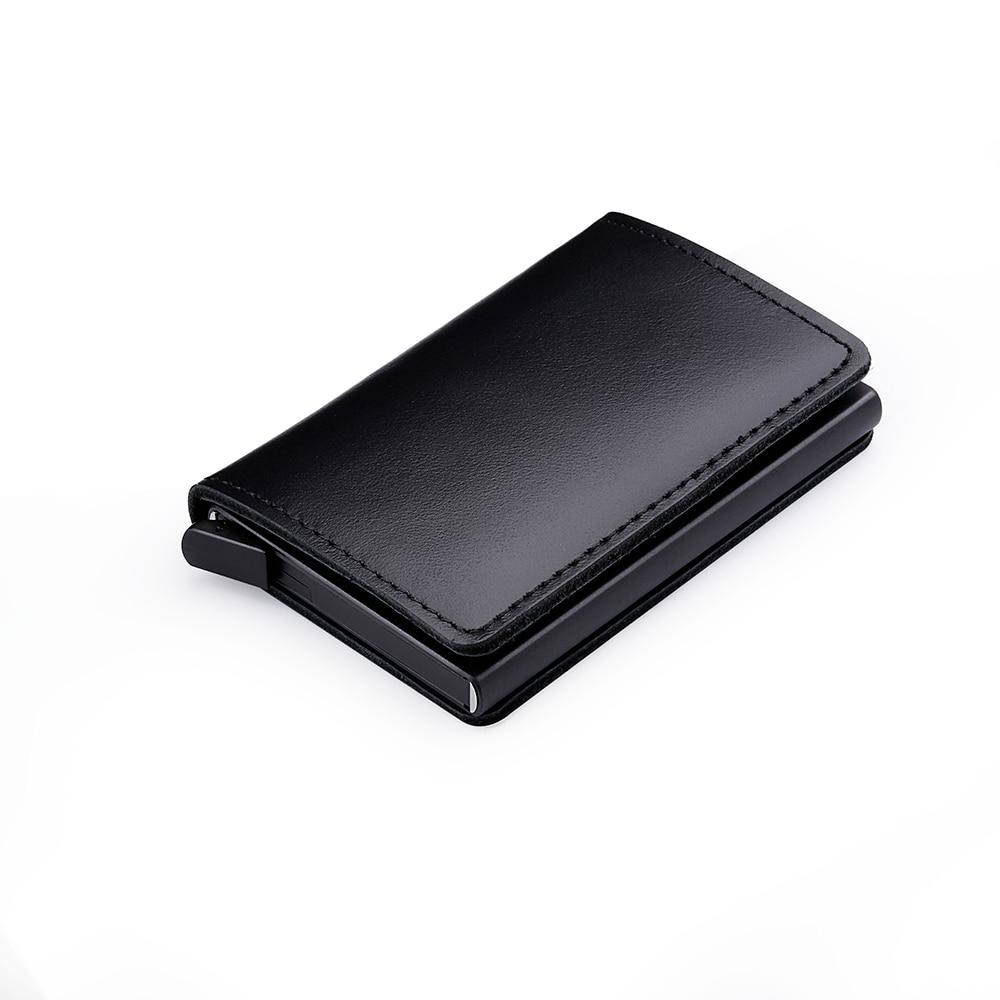 Casekey Vintage Genuine Leather Wallet Smart Mini Rfid Wallet with Pop Up Metal