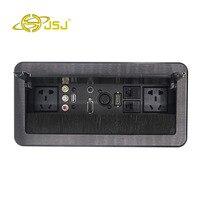 JSJ Multi function desktop socket power supply AV audio USB2.03.5 headset VGA card Nong female HDMI network interface